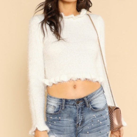 7db140a15a0 Forever 21 Tops | White Fuzzy Ruffle Trim Crop Top Sweater Nwot ...